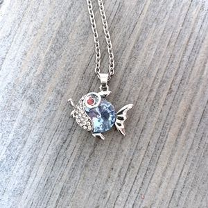Silver & Blue Crystal Fish Pendant Necklace